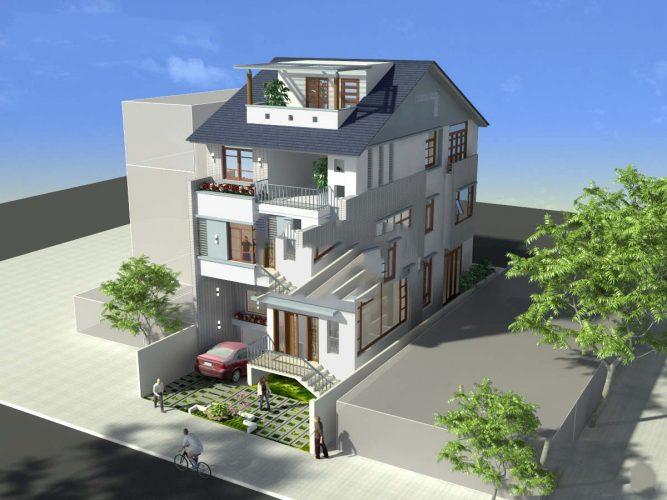 Thiết kế biệt thự có tầng hầm phong cách hiện đại