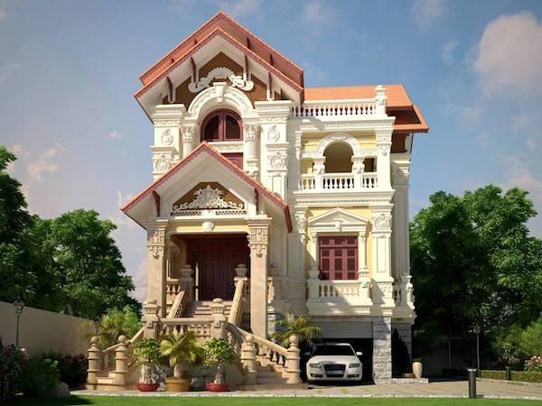 thiết kế biệt thự có tầng hầm phong cách tân cổ điển