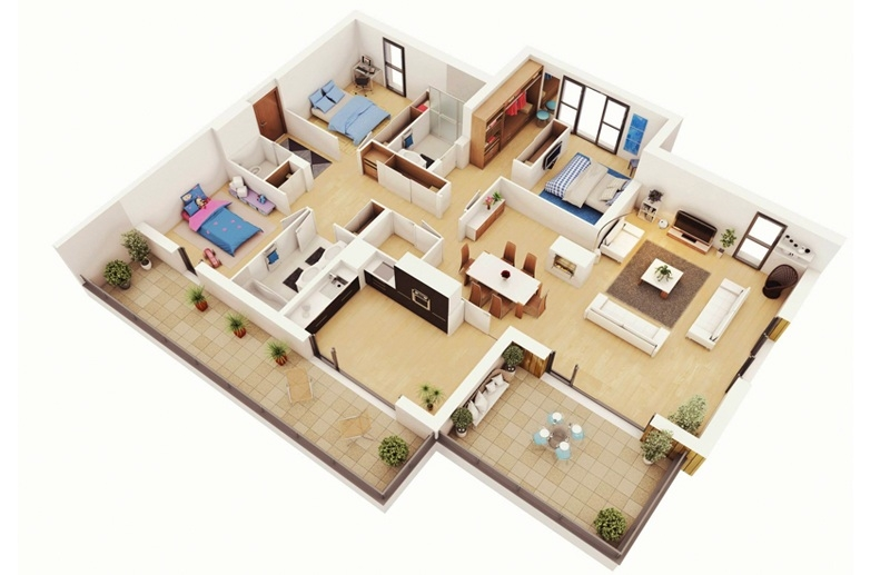 Căn hộ chung cư 100m2 với 3 phòng ngủ