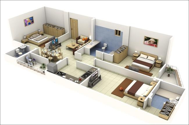 Không gian nội thất chung cư rộng rãi, thông thoáng