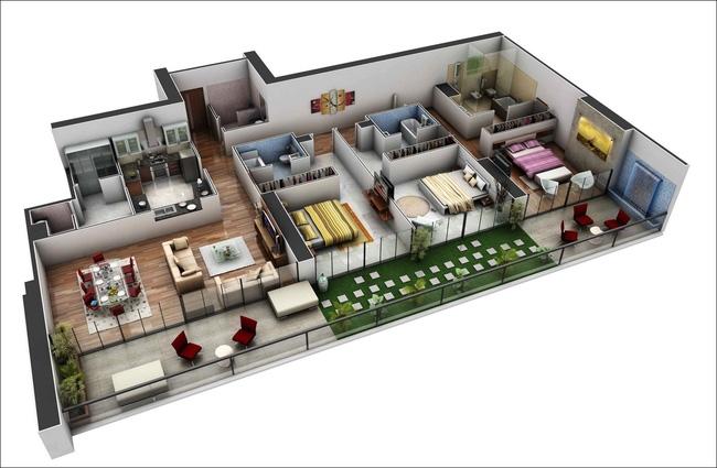 Khu vực ban công rộng rãi trong căn hộ