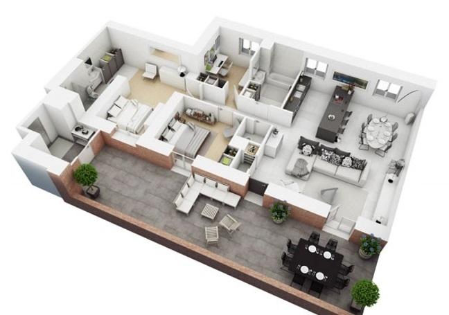 Màu trắng bao phủ khắp căn hộ