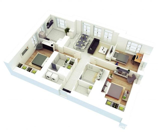 Mẫu căn hộ đẹp với không gian được bố trí gọn gàng