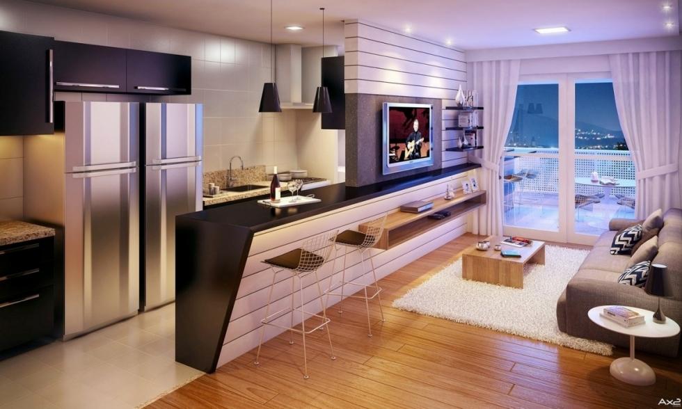 Kết hợp kệ nhà bếp với kệ ti vi trong thiết kế nội thất chung cu 100m2