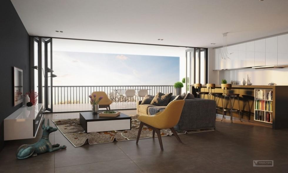 thiết kế nội thất chung cư 100m2 có tầm nhìn đẹp
