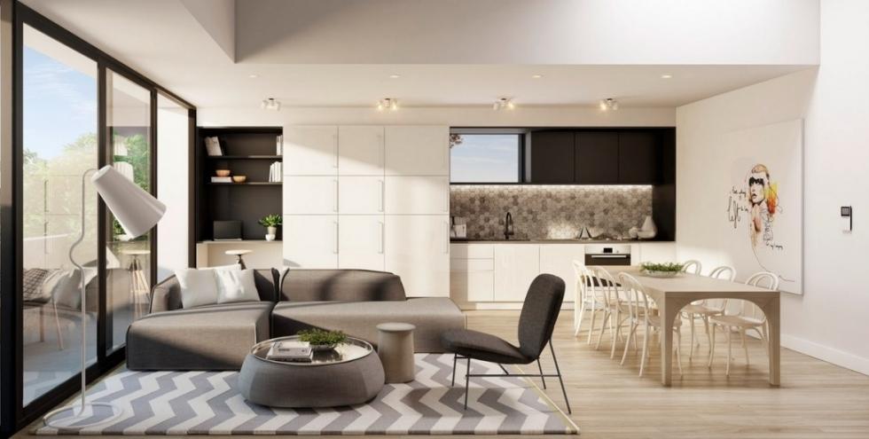 thiết kế nội thất chung cư 100m2 với phòng khách liền bếp