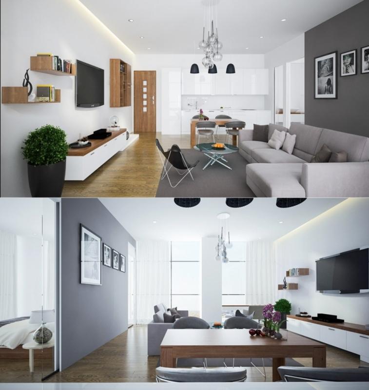ngăn cách không gian phòng khách và phòng bếp