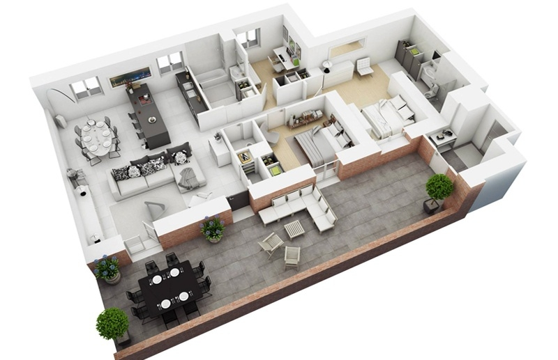 Không gian căn hộ chung cư với một khoảng ban công thoáng và đẹp