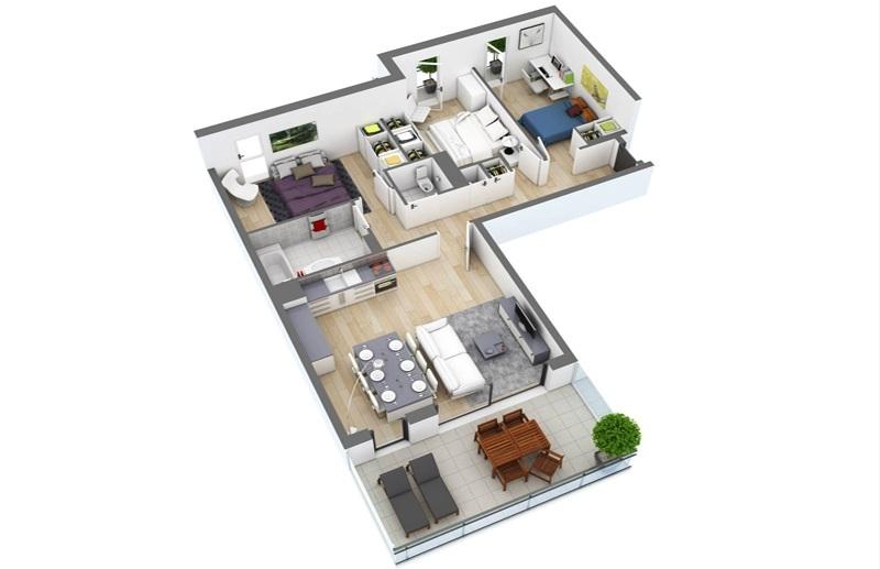 Mẫu thiết kế căn hộ theo không gian mở