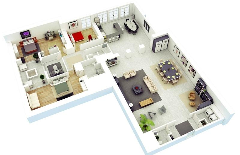 Thiết kế căn hộ chung cư cho 4 người ở