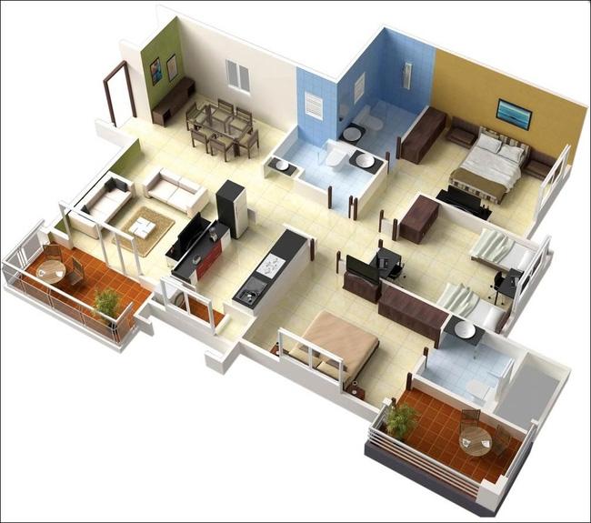 Bản phác thảo thiết kế nội thất cho chung cư 100m2 với 2 phòng ngủ