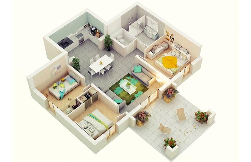Căn hộ chung cư với 3 phòng ngủ rộng và thoáng