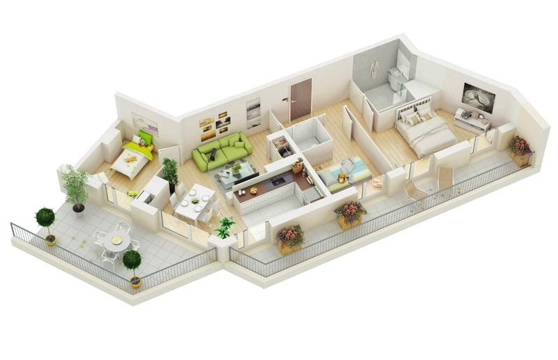 Thiết kế căn hộ chung cư góc cạnh nhưng có khoảng ban công dài và rộng rất ấn tượng