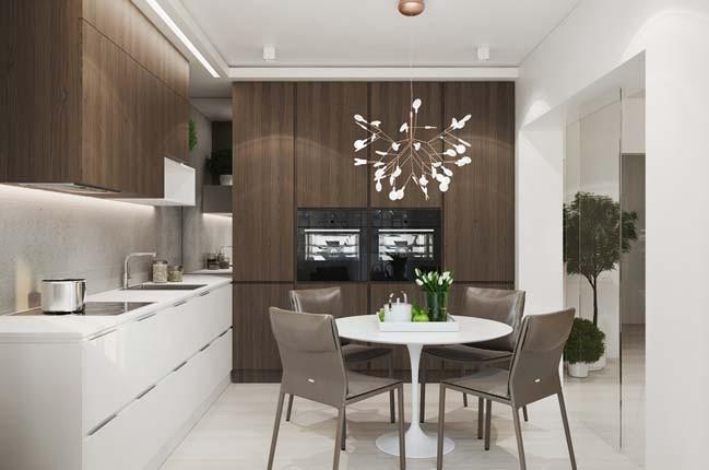 Phòng ăn được bày trí gọn gàng, ngăn nắp mang đậm phong cách hiệnđại