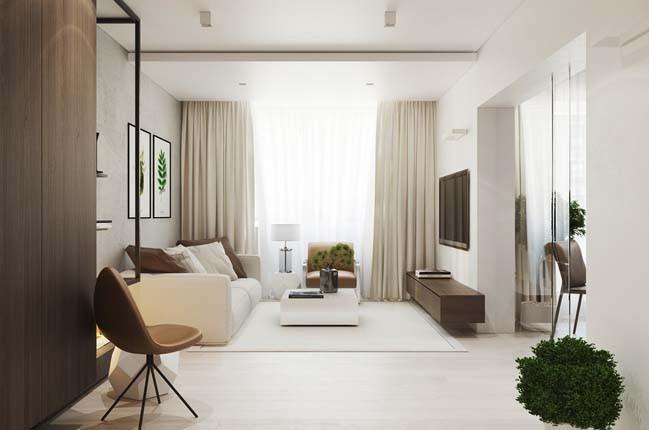 Không gian phòng khách thoáng đãng và rộng rãi hơn với sự kết hợp hài hòa các gam màu vớinhau