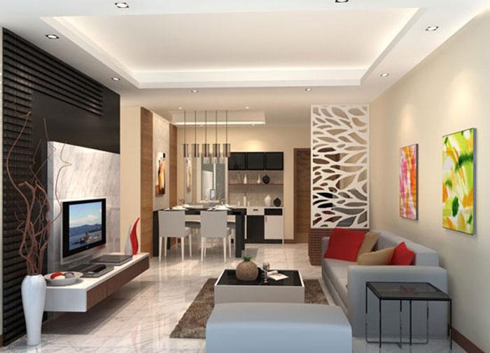 nội thất ngăn phòng khách và bếp
