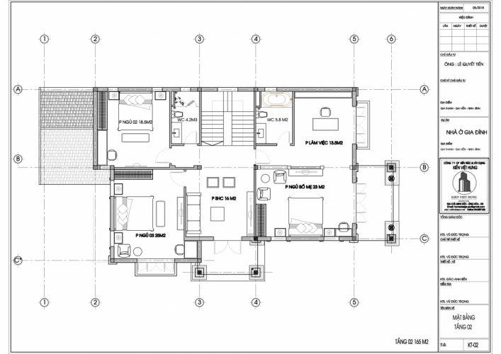 Mặt bằng tầng 2 thiết kế biệt thự Ninh Bình