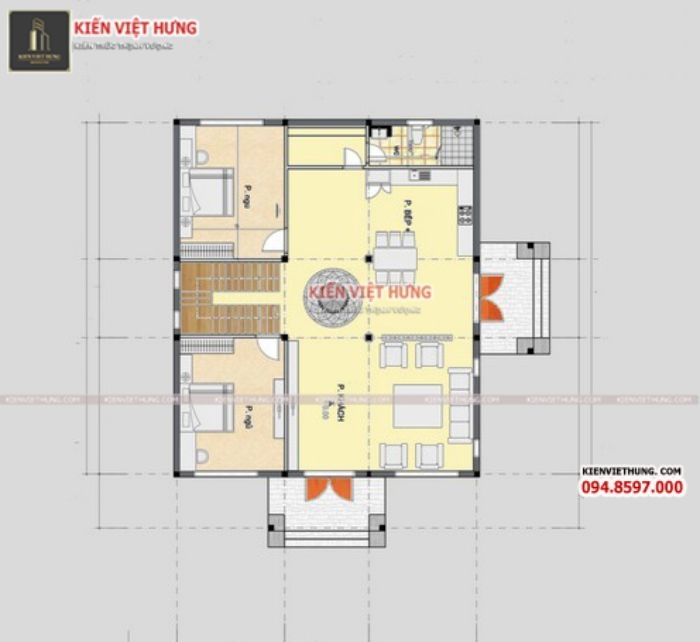 Bản vẽ của biệt thự 2 tầng chi tiết nhất