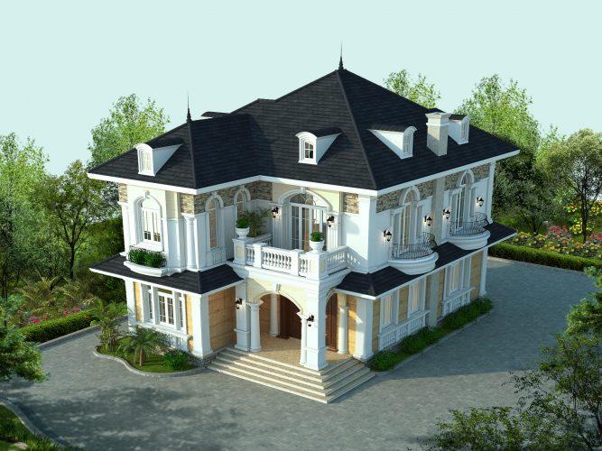 thiết kế biệt thự 2 tầng mái Thái 2