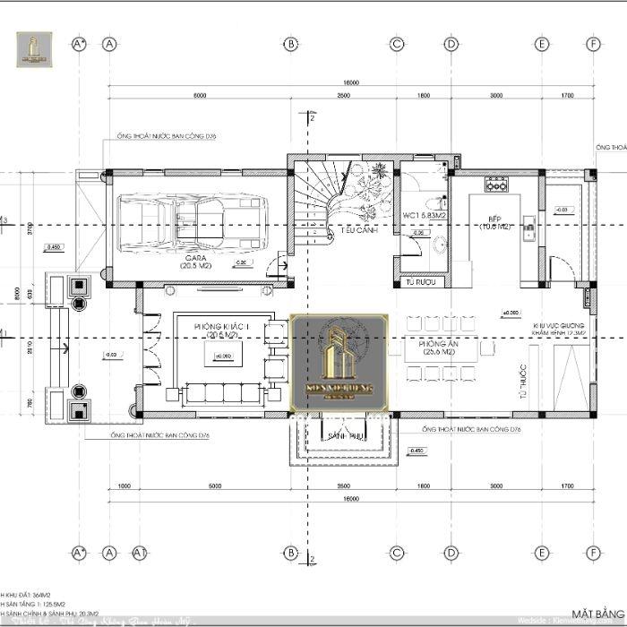 tầng 1 thiết kế biệt thự 2 tầng mái Thái