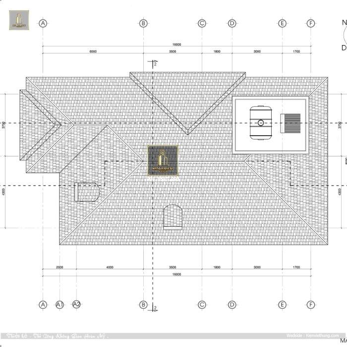 Bản vẽ phần mái của căn biệt thự 2 tầng
