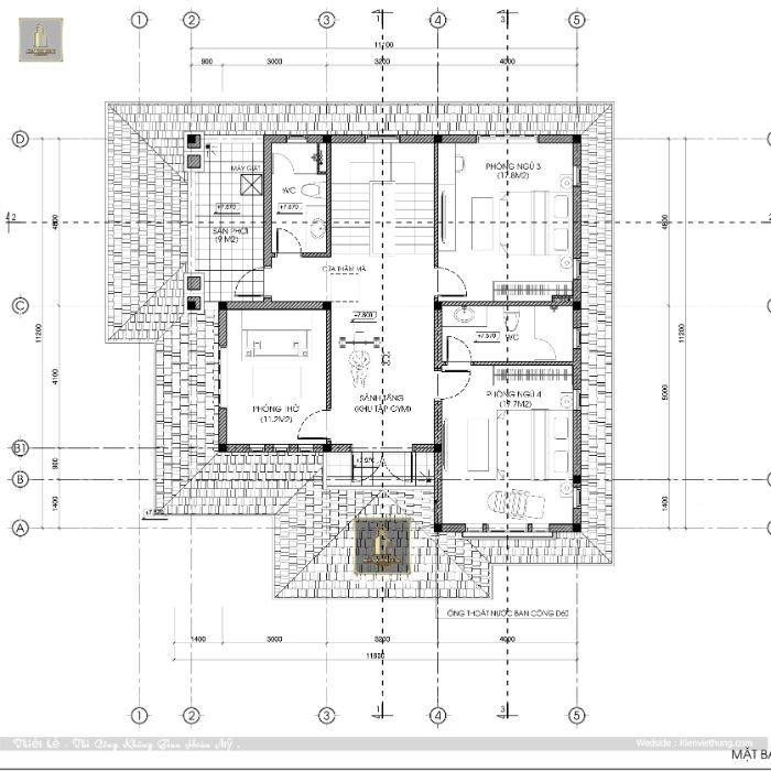 Chi tiết mặt bằng của tầng 3 căn biệt thự của vợ chồng anh Dương