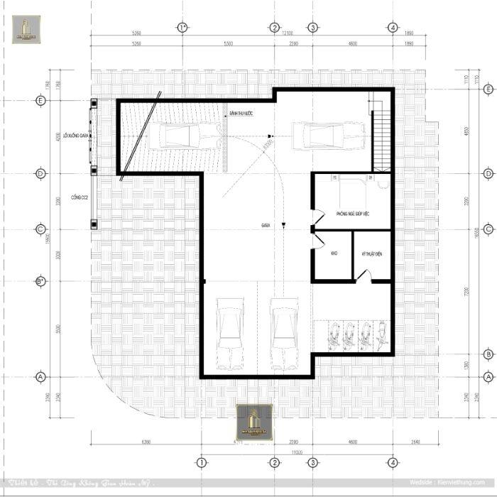 Bản vẽ chi tiết của tầng 1 căn biệt thự hiện đại