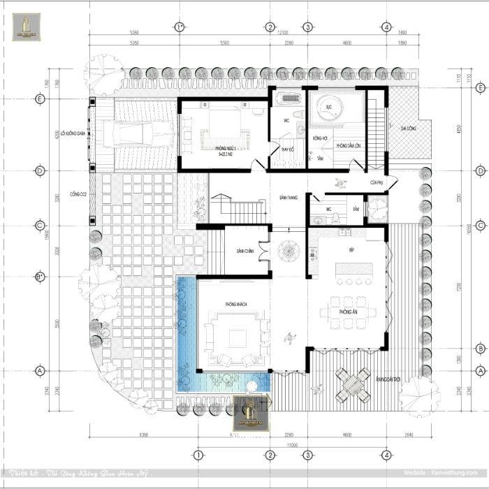 Thiết kế tầng 2 của căn nhà 3 tầng đẹp hiện đại