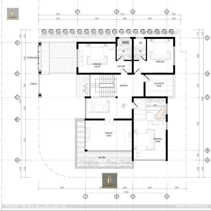 Tầng 3 của biệt thự 3 tầng hiện đại chứa nhiều phòng ngủ nhất
