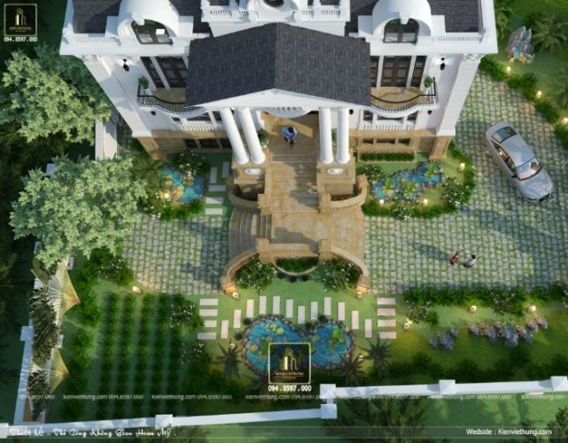 Hình ảnh thiết kế biệt thự đẹp nhìn từ trên xuống dưới