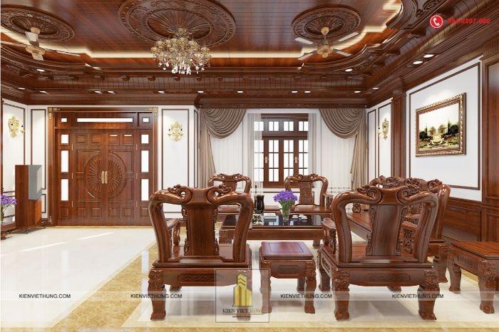 Không gian nội thất phòng khách của mẫu biệt thự 2 tầng được thiết kế với chất liệu chủ đạo là gỗ tự nhiên