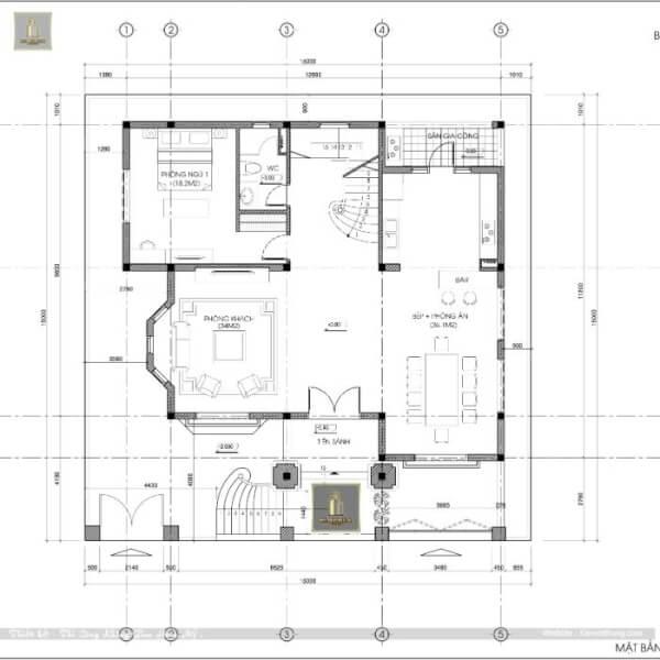 mặt bằng tầng 1 thiết kế biệt thự ở Lạng Sơn