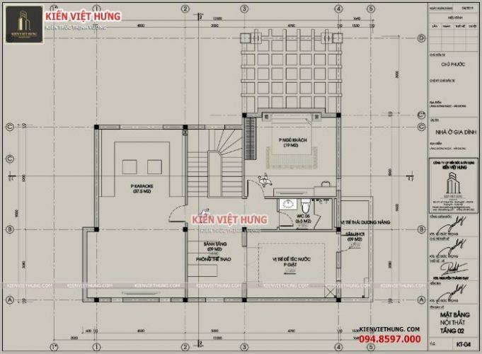 Mặt bằng thiết kế của tầng gác mái ưu tiên các phòng giải trí
