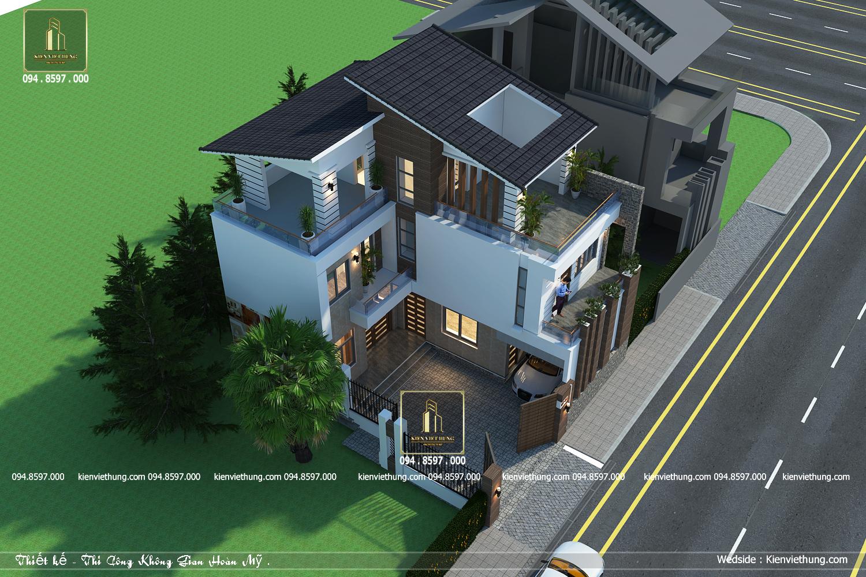 Thiết kế biệt thự 3 tầng với mái lệch độc đáo