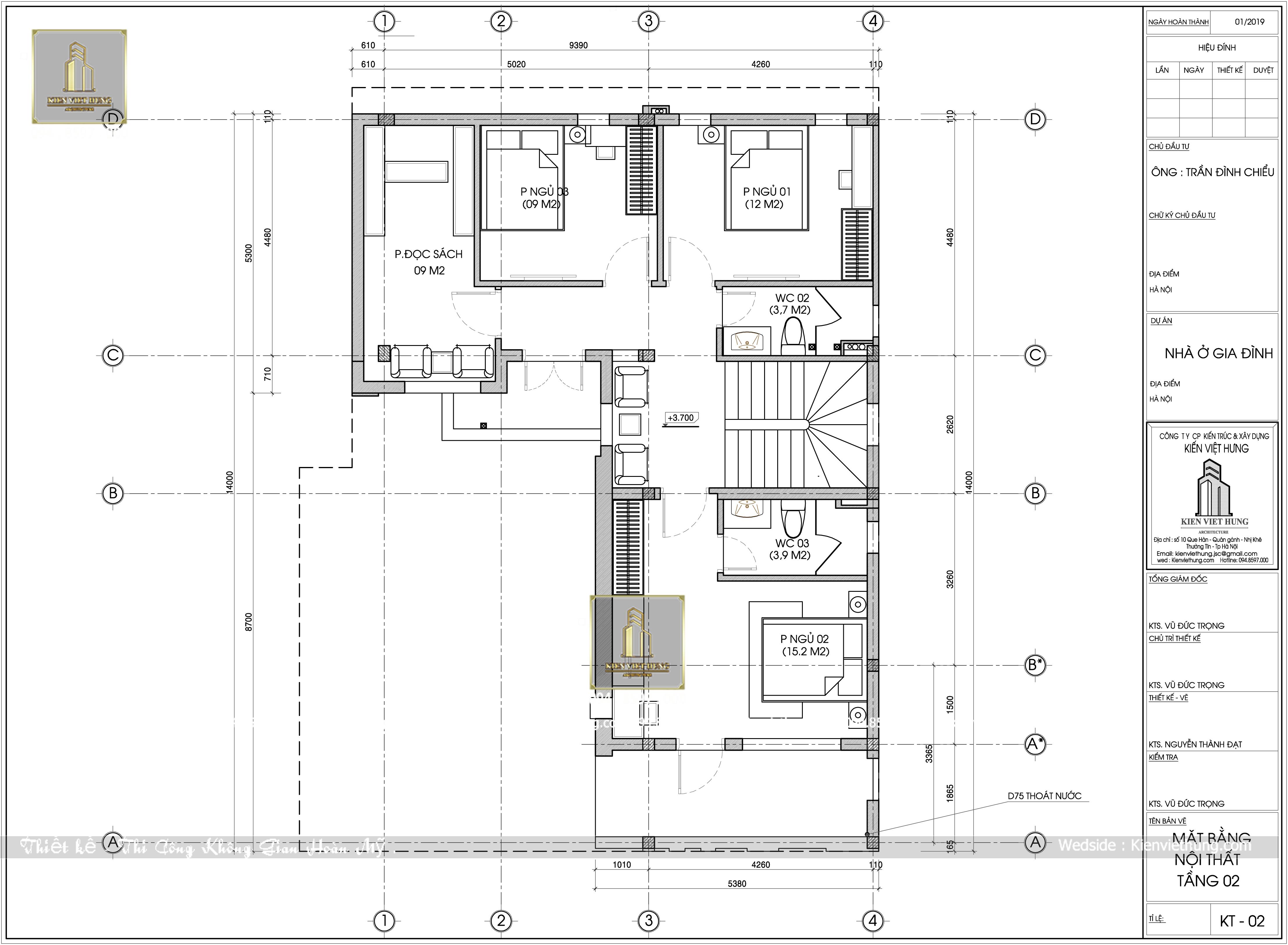 Mặt bằng tầng 2 thiết kế biệt thự 3 tầng