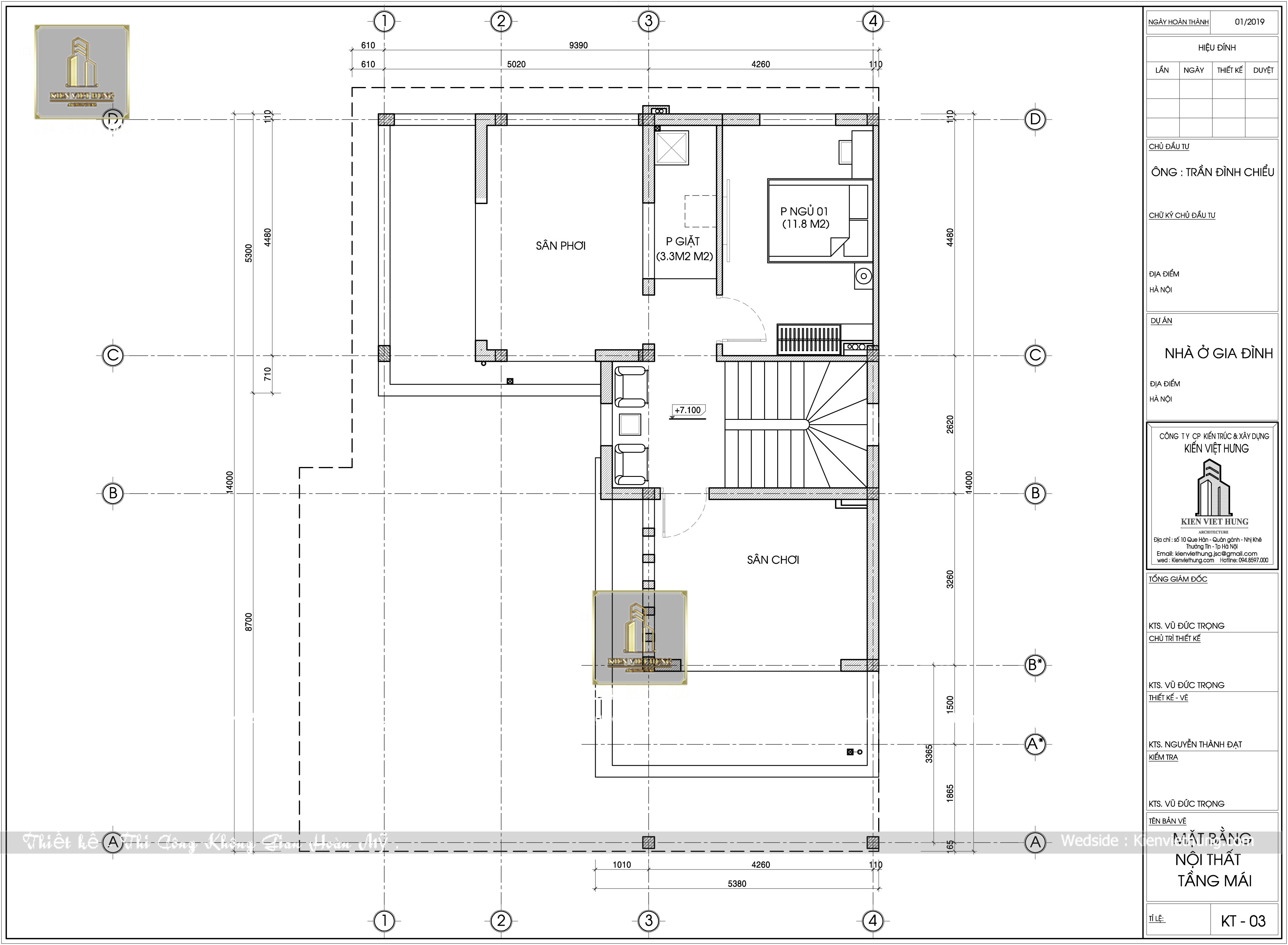 Mặt bằng tầng 3 thiết kế biệt thự 3 tầng