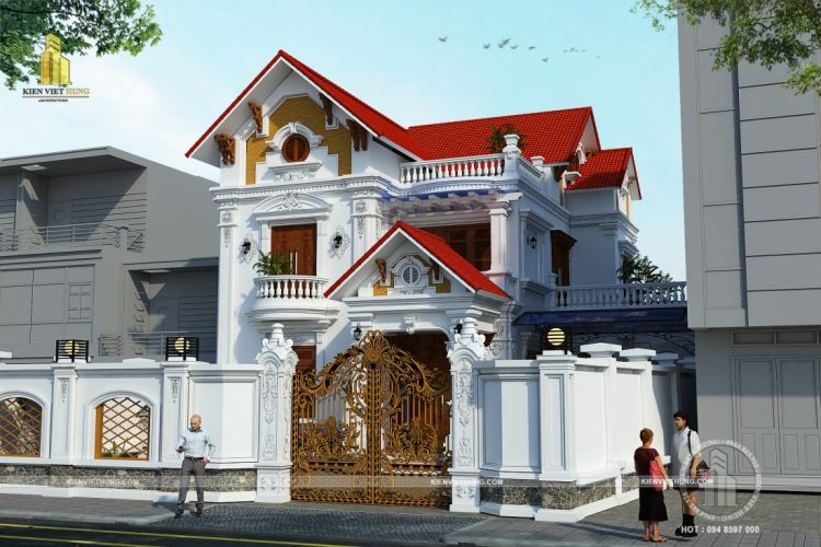 thiết kế biệt thự ở Hà Tĩnh nguy nga bề thế